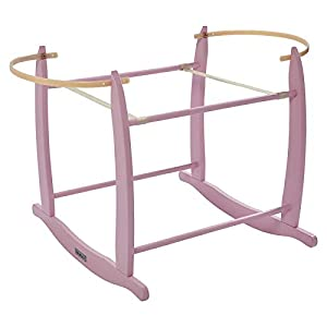 Clair de Lune Deluxe Rocking Moses Basket Stand - Pink   11