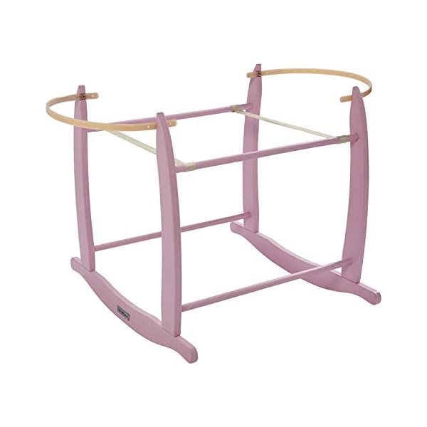 Clair de Lune Deluxe Rocking Moses Basket Stand - Pink Clair de Lune A sturdy moses basket rocking stand rocks gently side to side to soothe your little one to sleep With a gentle push, you can rock your baby side to side as they drift off, while the plastic retaining bars ensure that your basket is securely held in place The rocking stand raises your baby to a height that is perfectly eye-level beside a standard bed, and allows you to keep an eye on your precious little one 1