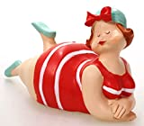 Badenixe mit Kopftuch - rot-türkis- liegend 13 cm im gestreiften Badeanzug für Tisch Kommode Schrank Mädchen Rubensfrau mollige Dame Dicke Frau Badezimmer Figur