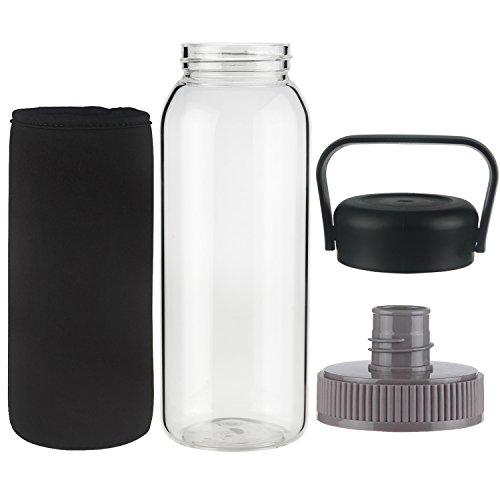 Ferexer 1 Litre Borosilikat Glas Trinkflasche Wasserflasche mit Neopren-Hülle BPA-frei 1000 ml / 1 L