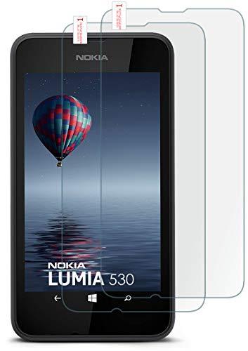 moex 2X 9H Panzerfolie für Nokia Lumia 530 | Panzerglas Display Glasfolie [Tempered Glass] Screen Protector Glas Displayschutz-Folie für Nokia Lumia 530 Dual SIM Schutzfolie (Dual-sim Lumia530)