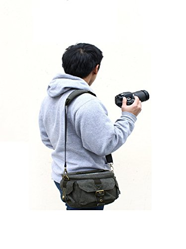 Evecase Tasche Schultergurt universal gepolstert Leinwand-Grau resistent Wasser für Kamera DSLR