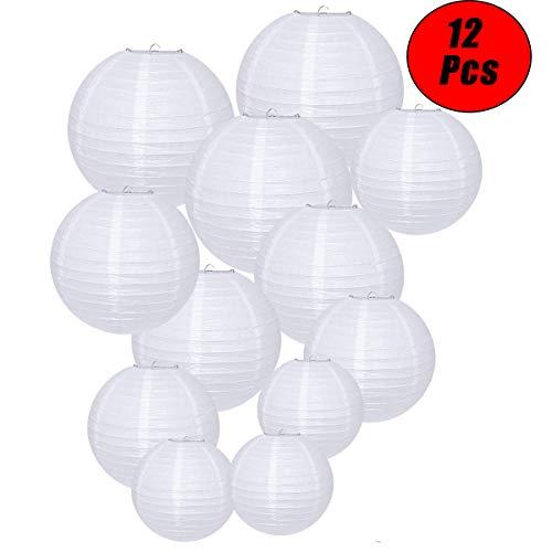12 piezas- Linternas de papel redondas