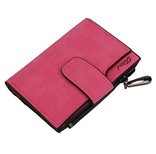Brieftasche Frauen Mini Grind Magic Bifold Leder Sunday Kartenhalter Geldbörse for Mobiltelefon Werkzeug Notizbuch Stiftschlüssel (roserot)