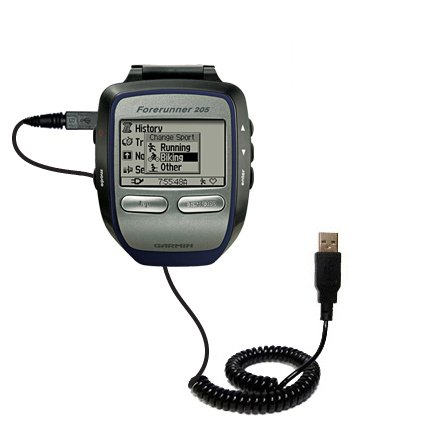 Coiled Power Hot Sync USB Cable suitable for the Garmin Forerunner 205 with both data and charge features - Uses Gomadic TipExchange