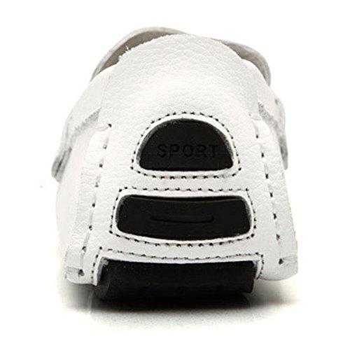Rismart Herren überstreifen Mokassins Flache Leder Schuhe Loafers Weiß