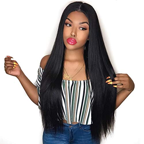 Hair Malaysian Hair Virgin 100% Unprocessed Real Human Hair Grade 8A Straight Hair Top Quality Hair Swiss Lace with Pre Plucked Natural Hairline Black 18 inch ()