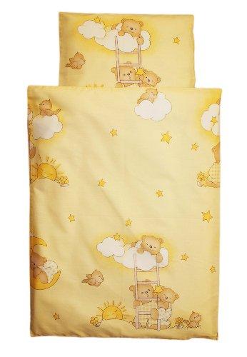 Amilian® Kinderwagenset Baby Bettwäsche Garnitur für Kinderwagen Kissen Decke NEU Bär auf der Leiter Ecru