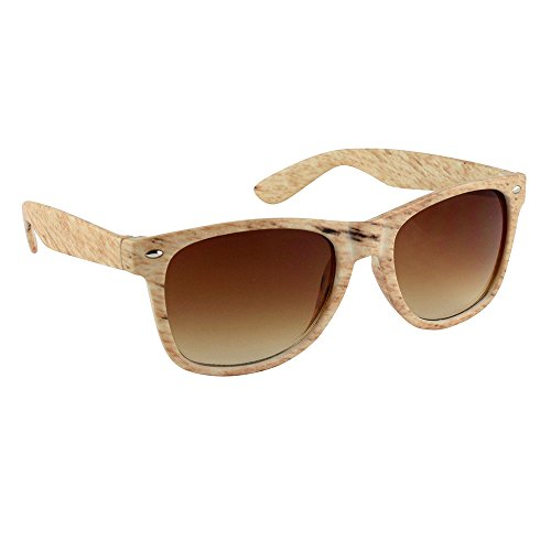 Unisex Wayfarer Stil Sonnenbrille Mit UV400 Sonnenschutz - Klassische Geek Nerd Retro Brille (Eine Größe, Holz braun)