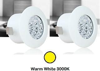 Glitz LED Spot/Down Light, 1 watt, Round Style, Warm White 3000k, White powder coated, SUPER BRIGHT, Aluminium Body, with driver, SET OF 2pcs