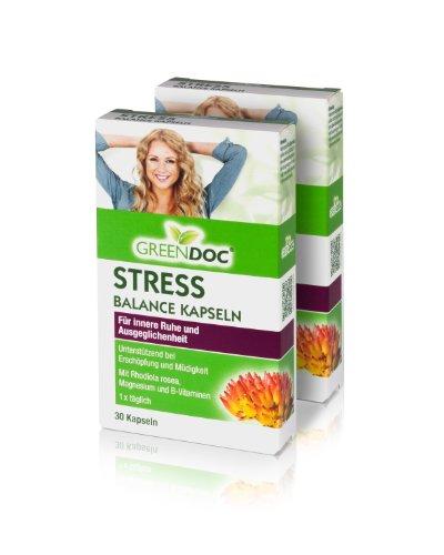 GreenDoc® Stress-Balance Kapseln | mit Rhodiola Rosea + ausgewählte Vitalstoffe | bei Erschöpfung und Müdigkeit | für innere Ruhe und Ausgeglichenheit | Nur 1 Kapsel täglich | 2er Pack (60 Kapseln)