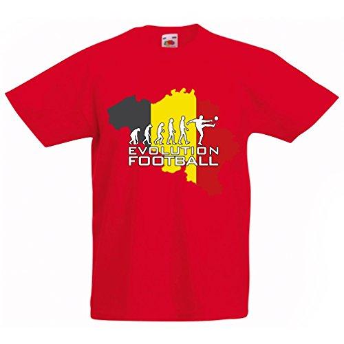 Kinder T-Shirt Evolution Fußball - Belgien, Die Belgische Flagge (9-11 Years Rot Mehrfarben) (Startelf T-shirt)
