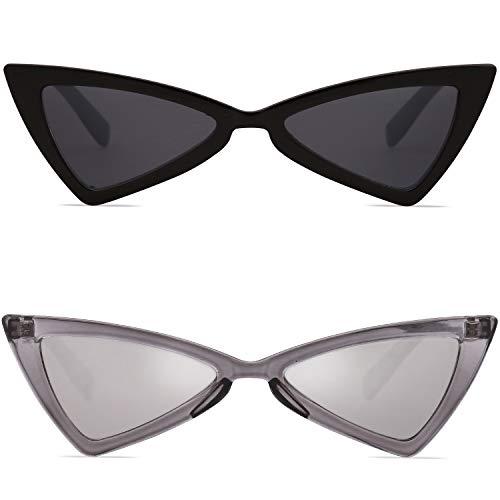 SOJOS Katzenauge Rahmen Damen Mode Dreieck Sonnebrille SJ2051 mit Schwarz/Grau & Silber/Grau 2 Paare