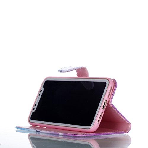 Coque iPhone X, Voguecase Housse en PU Cuir avec Support Fonction Étui de Protection Magnétique avec Porte-cartes pour Apple iPhone X (Pissenlit 07) + Gratuit stylet l'écran aléatoire universelle dreaming 04