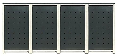 BBT@ | Hochwertige Mülltonnenbox für 4 Tonnen je 240 Liter mit Klappdeckel in Grau / Aus stabilem pulver-beschichtetem Metall / Stanzung 3 / In verschiedenen Farben sowie mit unterschiedlichen Blech-Stanzungen erhältlich / Mülltonnenverkleidung Müllboxen Müllcontainer