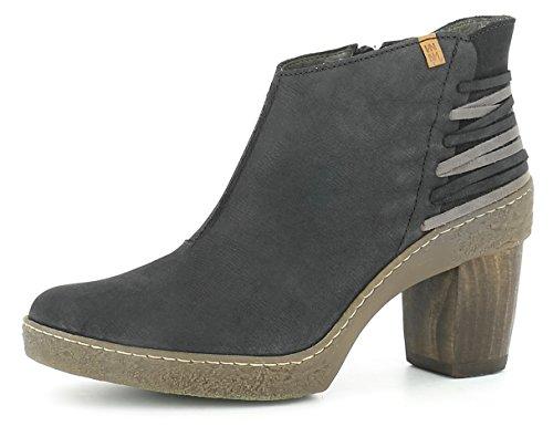 El Naturalista N5171 Lichen Damen Stiefelette,Frauen Stiefel,Boot,Halbstiefel,Damenstiefelette,Bootie,Reißverschluss,Black,EU 42