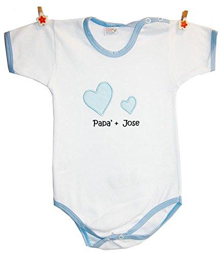 """Zigozago - Body personalizado para Bebés """"PAPA' + Nombre del niño"""""""