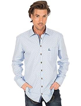 orbis Textil Trachtenhemd Langarm Hellblau Karo