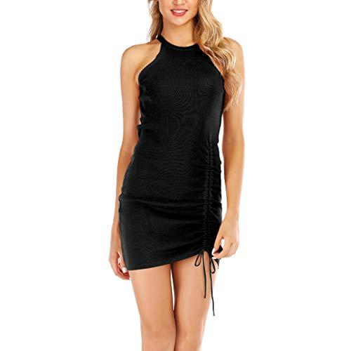GOKOMO Halter Backless Mini Bodycon Kleid Damen Schlauch Kleid V Ausschnitt Etuikleider Pencil Business Kleider Knielang Bleistiftkleid(Schwarz,Medium)