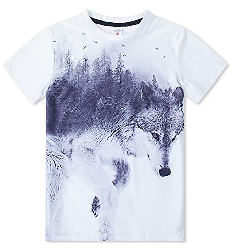 Rock Crewneck (Idgreatim Jugend 3D Druck Wolf Kurzarm Crewneck Rock Paar T Shirts Jungen Mädchen Grafik Sommer Cool Tees)