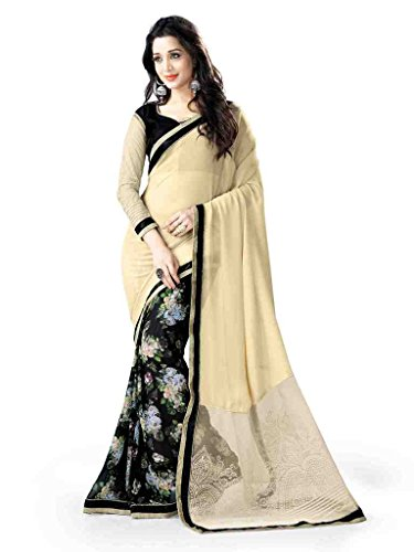 Glory Sarees Georgette Saree (Vn17_Beige And Black)