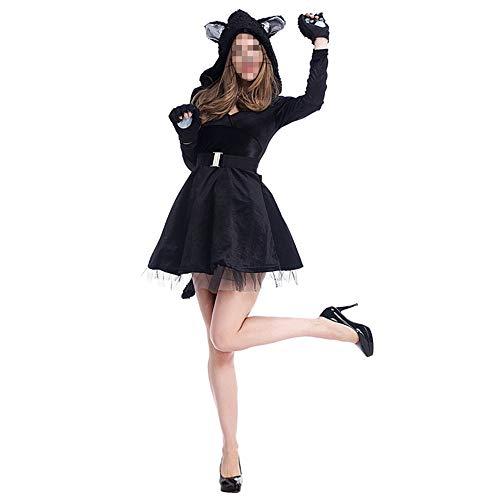 Katze Kostüm Panda - kMOoz Halloween Kostüm,Outfit Für Halloween Fasching Karneval Halloween Cosplay Horror Kostüm,Cosplay Sexy Schwarze Katze Kostüm Panda Tierspiel