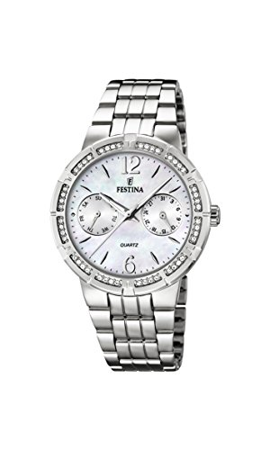 Festina Women's Quartz Watch with Mother of Pearl Dial Analogue Display and Silver Stainless Steel Bracelet F16700/1