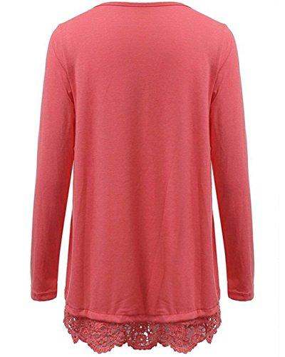 Arrowhunt Damen Mädchen Frühling & Herbst Loose Rundhalsausschnitt Langarm Spitze Blusen Shirt Rosa