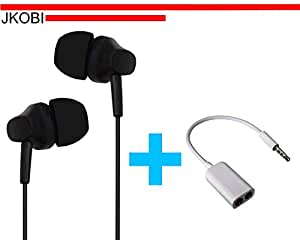 Value Combo Of Latest Designed In Ear Bud Earphones Headset and Splitter Cable Compatible For Sony Xperia C4 Dual -Black