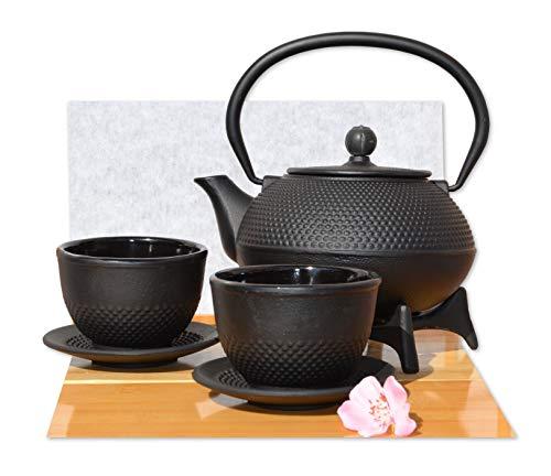 Gifts of the Orient Goto® Teeservice aus Gusseisen mit Tassen, Untertassen, Teekanne und Untersetzer schwarz 0,6l