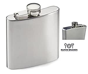 Best Ramini Brands Stainless Steel Hip Flask - Bonus Recipes - Water Liquor Alcohol Travel Container - 6 oz - Beverage Bottle