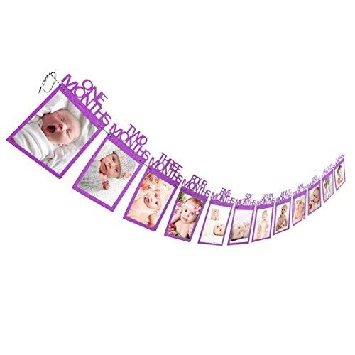 y Gift Decorations 1-12 Monate Babyfoto Banner Monatliches Foto Clip Wand Dekoration (Lila) ()