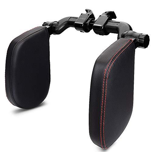 EASY EAGLE Kopfstütze Auto mit Verstellbarer Schiebestange, Autositz Nackenkissen mit Lederbezug für Kopfunterstützung