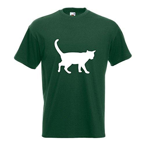 KIWISTAR - Katze T-Shirt in 15 verschiedenen Farben - Herren Funshirt bedruckt Design Sprüche Spruch Motive Oberteil Baumwolle Print Größe S M L XL XXL Flaschengruen