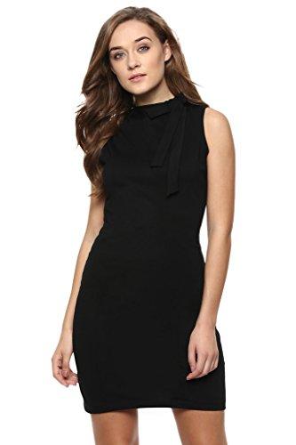 3. Miss Chase Women's Black Solid Sleeveless Round Neck Mini Bodycon Dresses