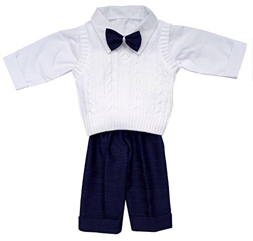 Taufanzug Festanzug Anzug Weste Hose Hemd Fliege Taufe Baby SET Adam Anzug, weiß marineblau, 68
