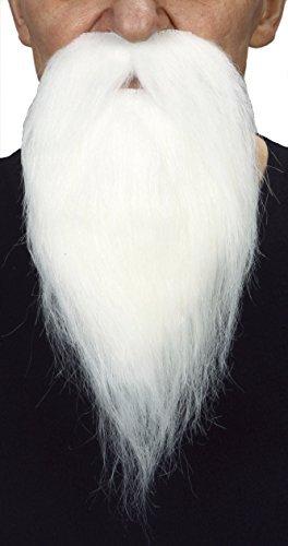 (Mustaches Selbstklebende Neuheit Philosopher Fälscher Bart Falsch Gesichtsbehaarung Kostümzubehör für Erwachsene Weißer Farbe)