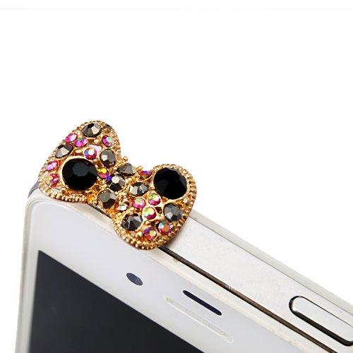 MAXFE.CO 3.5mm 3D Gold-Bogen Twinkle Glänzend Bling Strass Glitter Headset Staubschutz Stöpsel Schleife Anti-Dust Plug Anti-Staub-Stecker Staub Schutz für Smartphones Tablet HTC One, iPhone 3 3GS 4 4S 5 5S, iPad 1 2 3 4 mini,Nokia Lumia 920 928 520 720, Samsung Note 2 N7100, galaxy S3 i9300, i8190, i8262D, S2 i9100, i9268, S5830, i9000, Samsung Galaxy S4 i9500, GALAXY Ace2, LG Nexus 4HTC one X, i8262D i9268 HTC G18 Sensation XE, TC X920e(Butterfly),Sony L36h(Xperia Z SP L),Samsung Tab 10.1'' P7510 P7300 P6800 P6200 P3100 Goldene