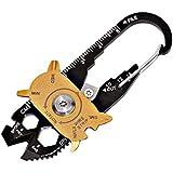 Acecoree 20 in1 Pocket Tool Schlüsselanhänger, Mini Multi Tool Karabiner Messer Schrauben, Survival-Werkzeug Multi-Funktion Pocket Werkzeug