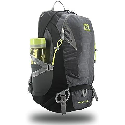 [Nueva versión] Udajatbag 35L senderismo ligera mochila impermeable deporte al aire libre Camping viaje mochila Trekking compacta bolsa para senderismo / escalada / Camping / viaje / pesca / montañismo (gris)