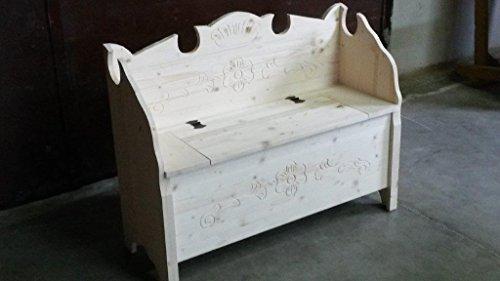 Cassapanca modello tirolese con schienale legno grezzo