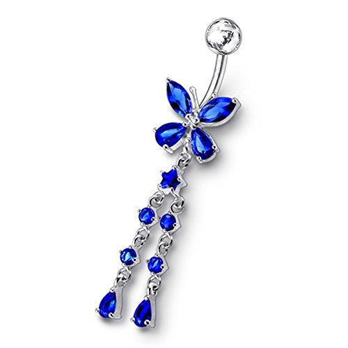 Dunkel Blau Kristall Stein Trendy Schmetterling Design Sterling Silber Bauch Bars Piercing