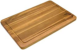 Fackelmann Schneidbrett AKAZIE, Küchenbrett aus Natur-Holz mit Saftrille, Frühstücksbrettchen (Farbe: Braun), Menge: 1 Stück