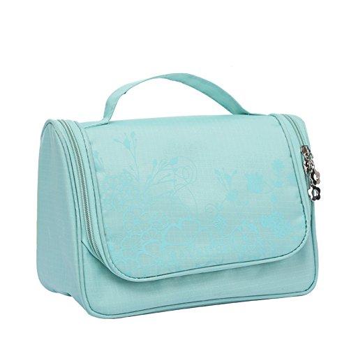 Qearly Trousse de toilette sac pochette pour cosmétiques avec un crochet intérieur pour raccrocher, pratique au rangement-Vert clair