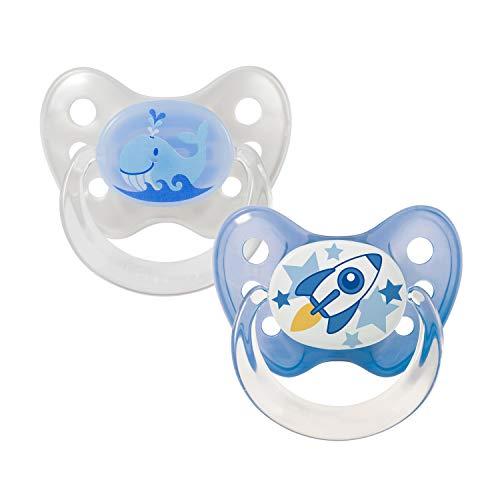 Dentistar® Silikon Schnuller 2er Set inkl. 2 Schutzkappen - Nuckel für Babys Größe 1 von Geburt an, 0-6 Monate – Wal & Rakete
