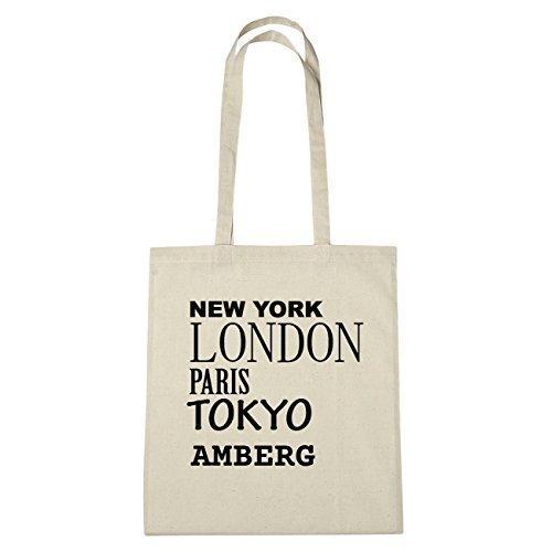 JOllify Amberg Borsa di cotone B1155 schwarz: New York, London, Paris, Tokyo natur: New York, London, Paris, Tokyo