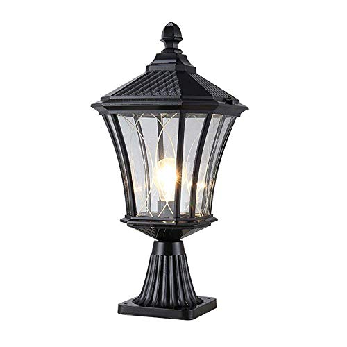 ACZZ Professional Waterproof Black Garden Post Light Retro Outdoor Pedestal Bollard Column Lamp E27 outside Patios Balcony Pillar Lamp Landscape Doorpost Pathway Fence Lights - Front Porch Light