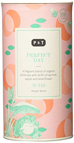 P & T Perfect Day, Loser Ganzblatt Bio Weißtee Master Blend, Chinesische Weißteemischung mit Früchten und Blumen, Deko-Dose (100g / 3.5oz)