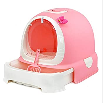 Toilette en Plastique Auto-Nettoyante pour Animaux De Compagnie avec Désodorisant Fermé, Bac À Toilette/Bac À Litière pour Chat, Bac À Litière,Pink