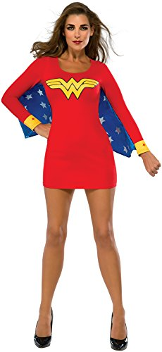 Wonder Woman Kostüm mit eingenähten Flügeln - rot/blau - Small